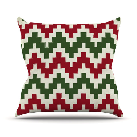 "Kess Original ""Christmas Gram"" Red Pattern Geometric Outdoor Throw Pillow - Outlet Item"