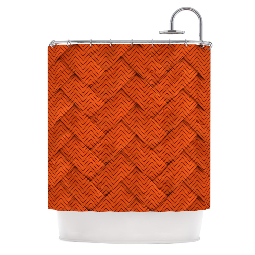 "KESS Original ""Chevron Weave"" Shower Curtain - KESS InHouse"