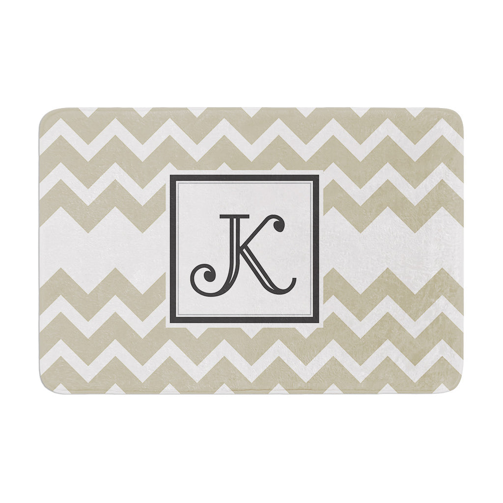 "KESS Original ""Monogram Chevron Tan"" Memory Foam Bath Mat"