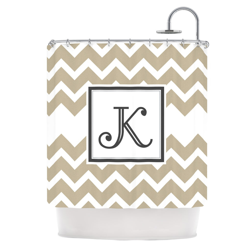 "KESS Original ""Monogram Chevron Tan"" Shower Curtain - KESS InHouse"