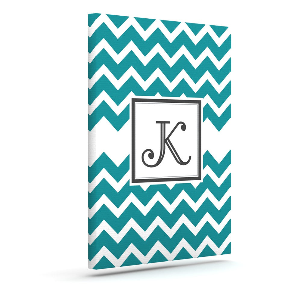 "KESS Original ""Monogram Chevron Teal"" Canvas Art"