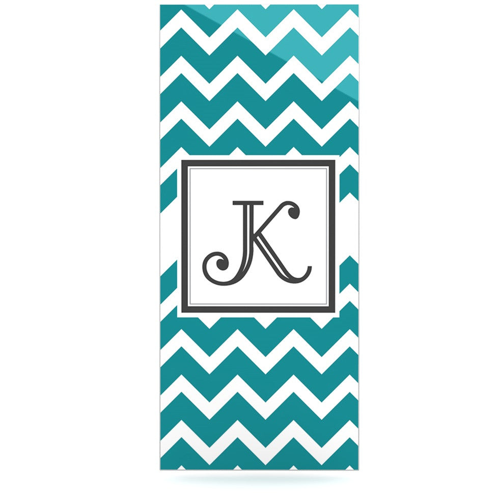 "KESS Original ""Monogram Chevron Teal"" Luxe Rectangle Panel - KESS InHouse  - 1"