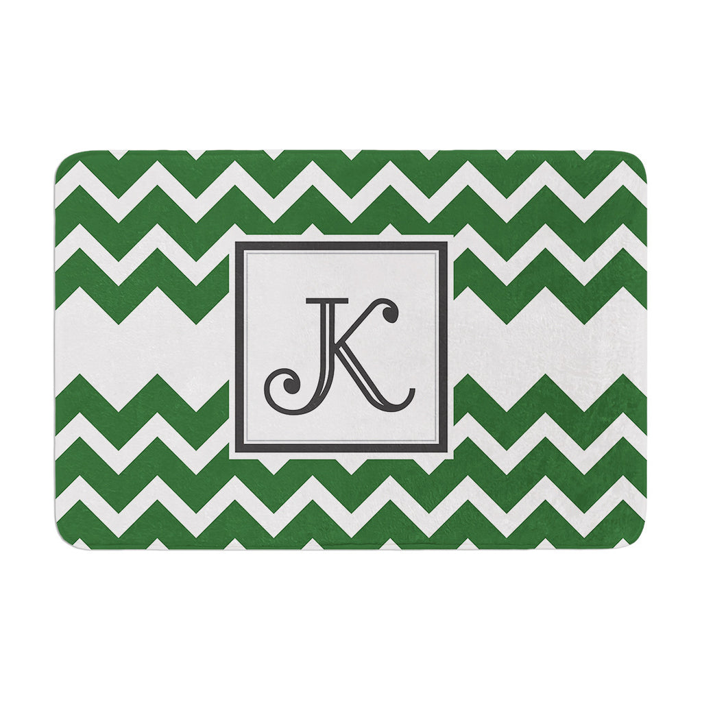 "KESS Original ""Monogram Chevron Green"" Memory Foam Bath Mat"