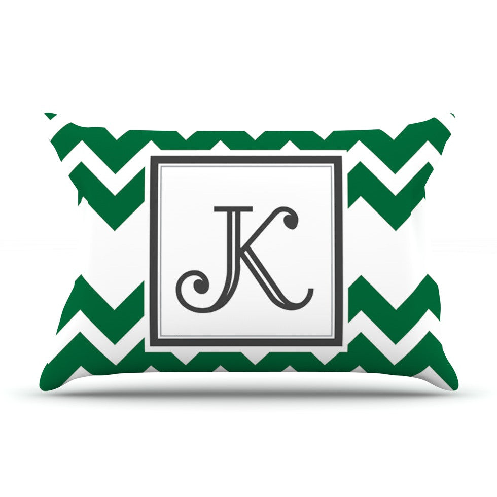 "KESS Original ""Monogram Chevron Green"" Pillow Sham"