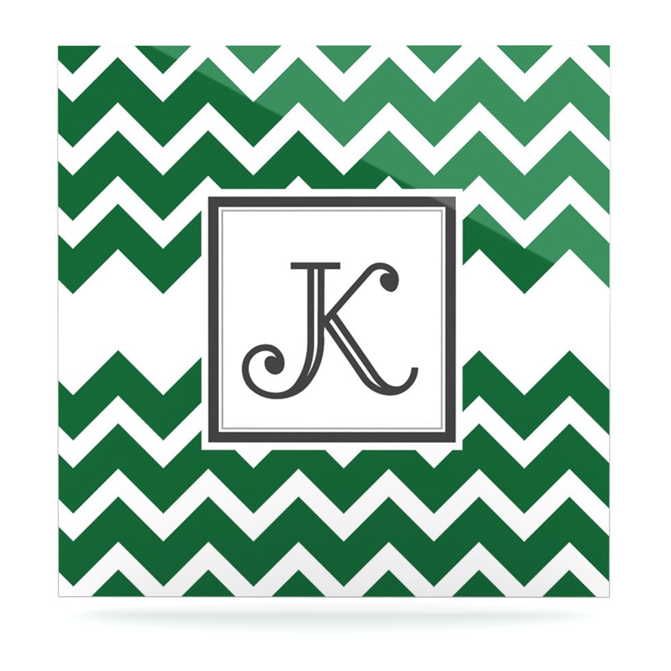"KESS Original ""Monogram Chevron Green"" Luxe Square Panel - KESS InHouse  - 1"