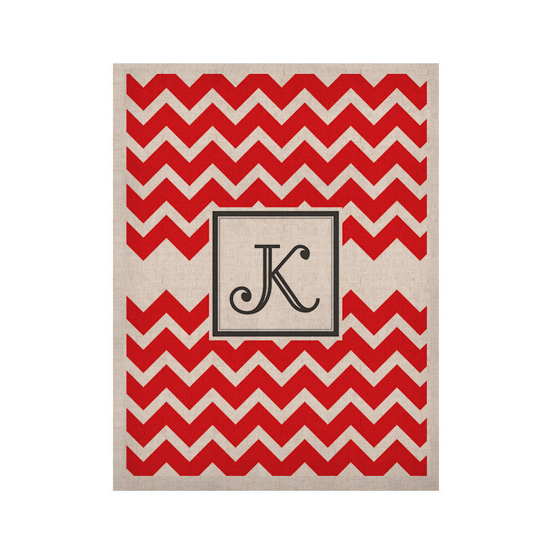 "KESS Original ""Monogram Chevron Red"" KESS Naturals Canvas (Frame not Included) - KESS InHouse  - 1"