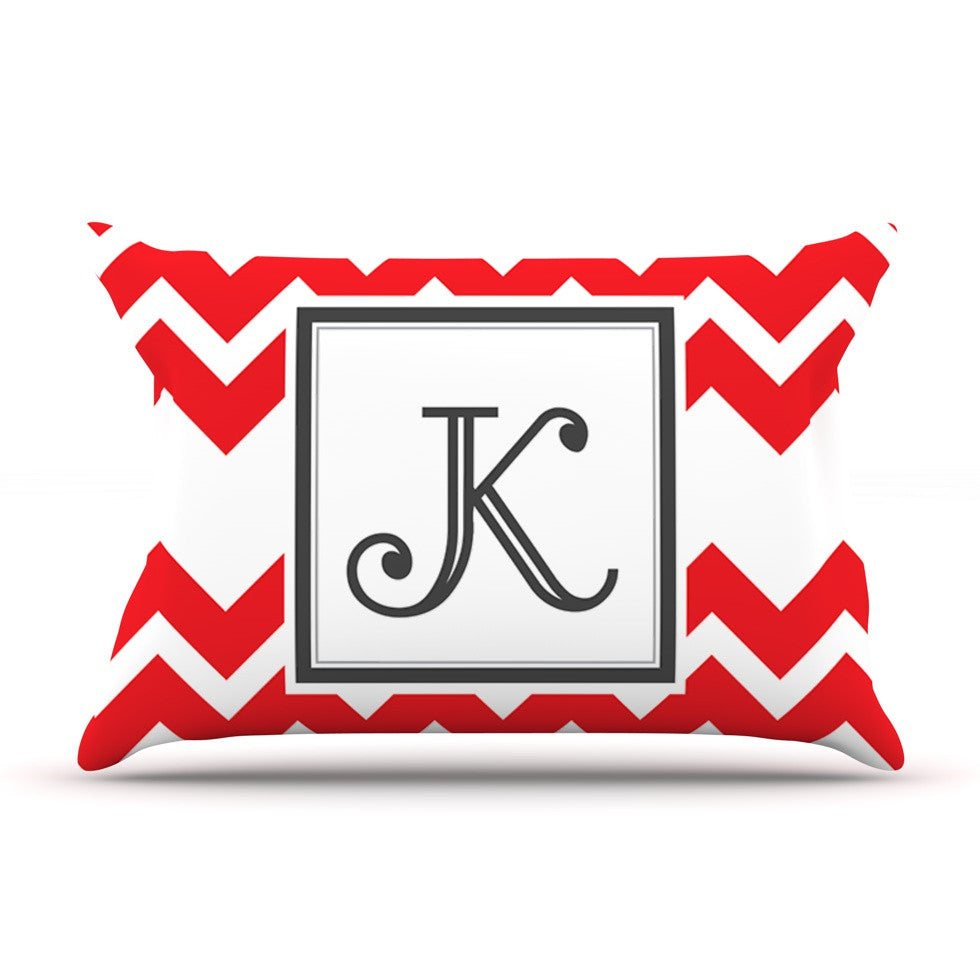 "KESS Original ""Monogram Chevron Red"" Pillow Sham"