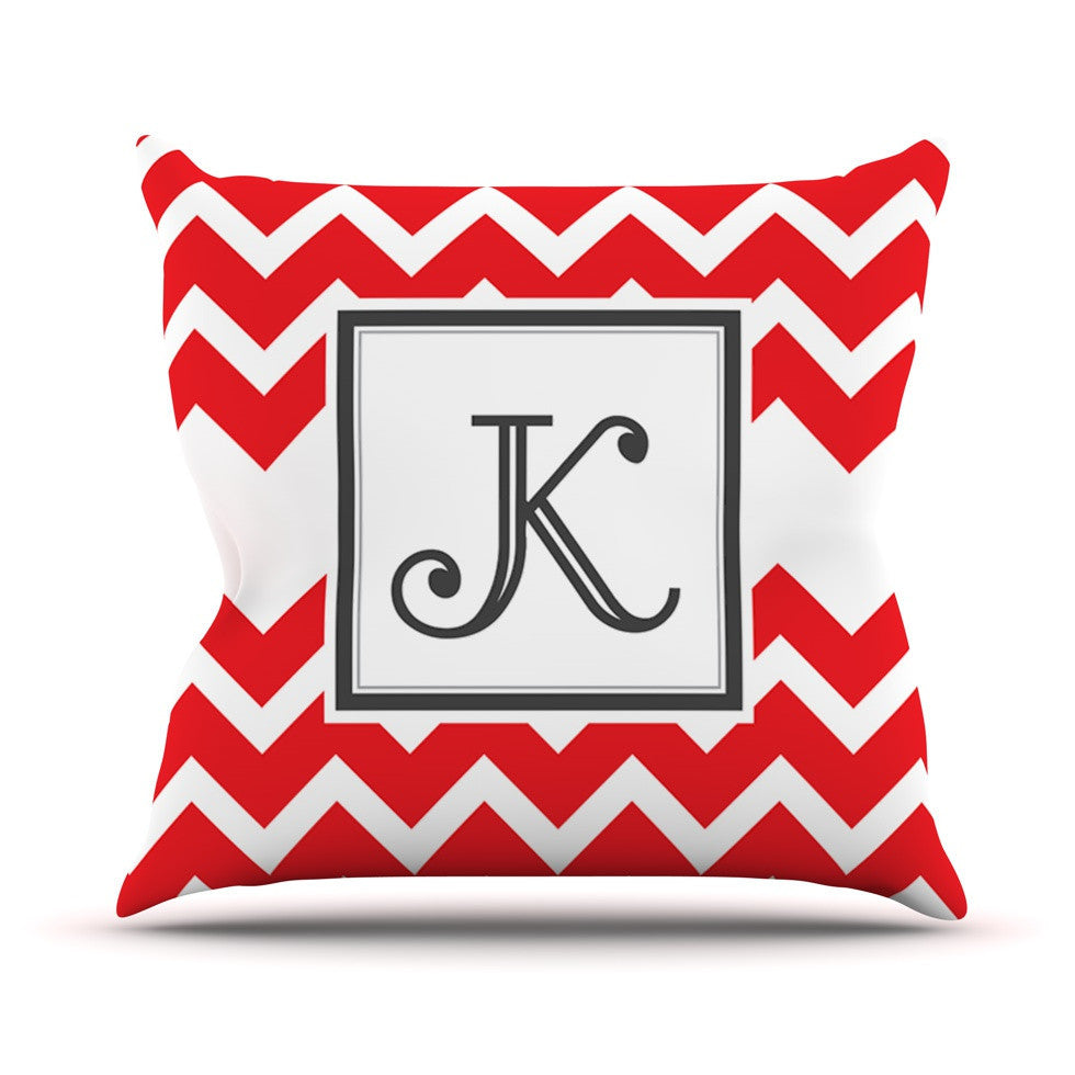 Monogram Chevron Red Outdoor Throw Pillow