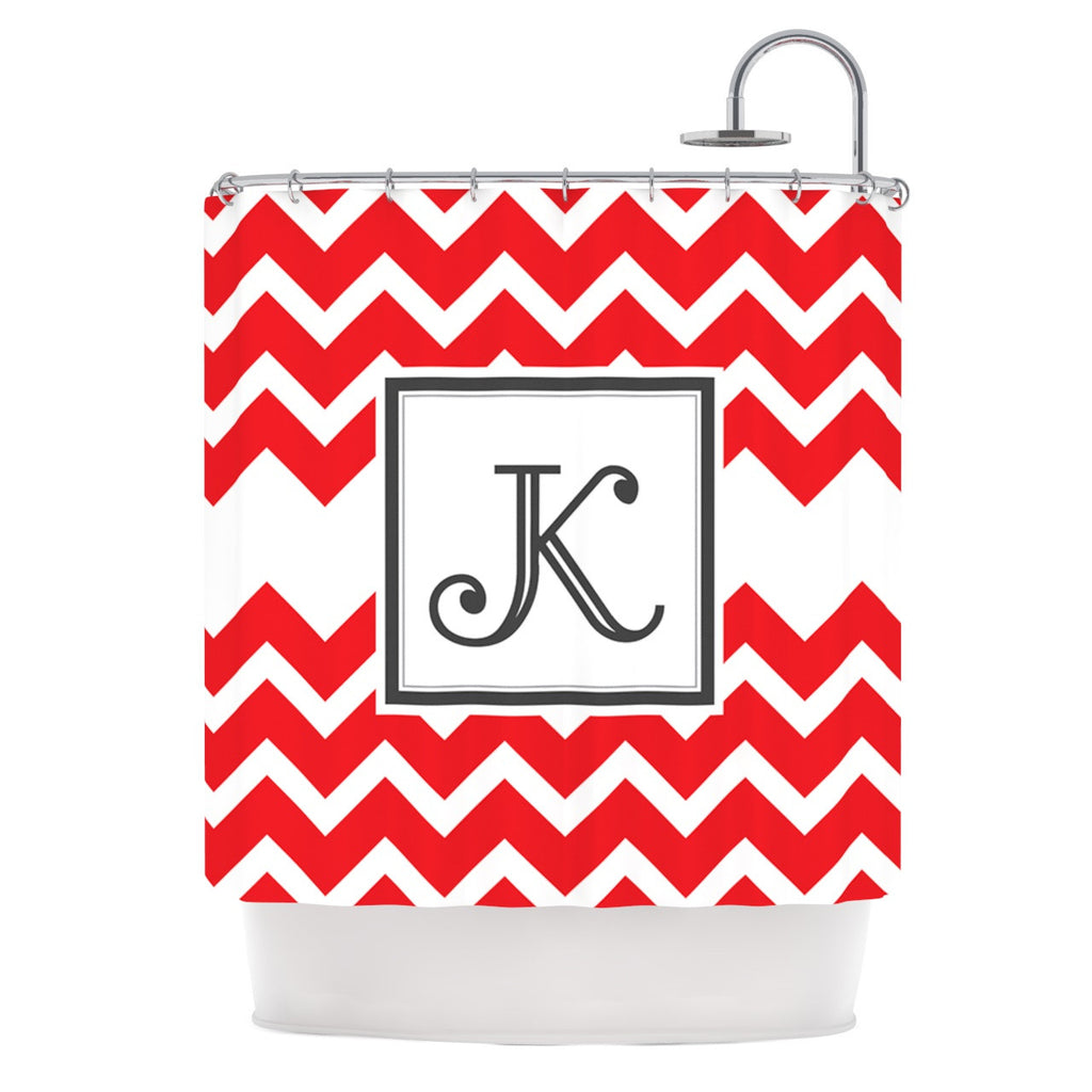 "KESS Original ""Monogram Chevron Red"" Shower Curtain - KESS InHouse"