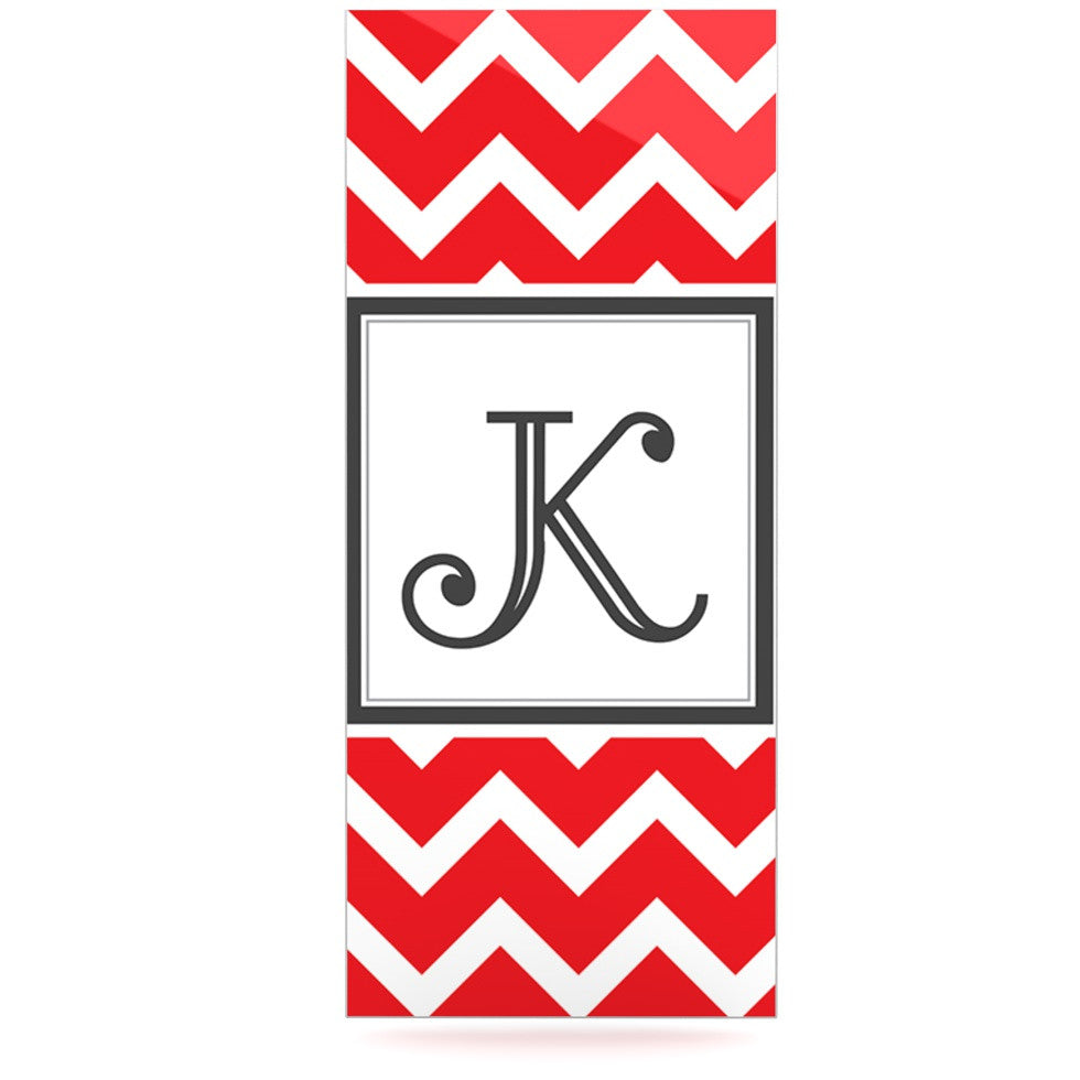 "KESS Original ""Monogram Chevron Red"" Luxe Rectangle Panel - KESS InHouse  - 1"