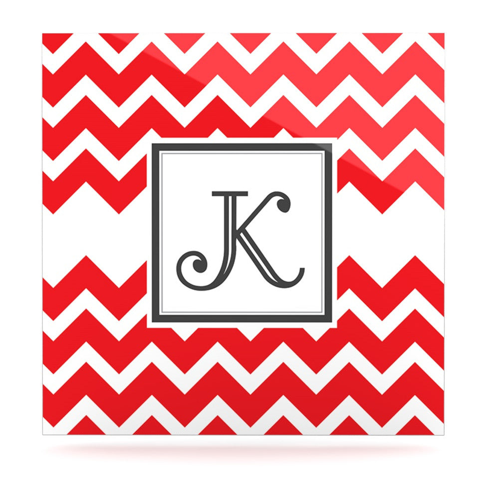 "KESS Original ""Monogram Chevron Red"" Luxe Square Panel - KESS InHouse  - 1"