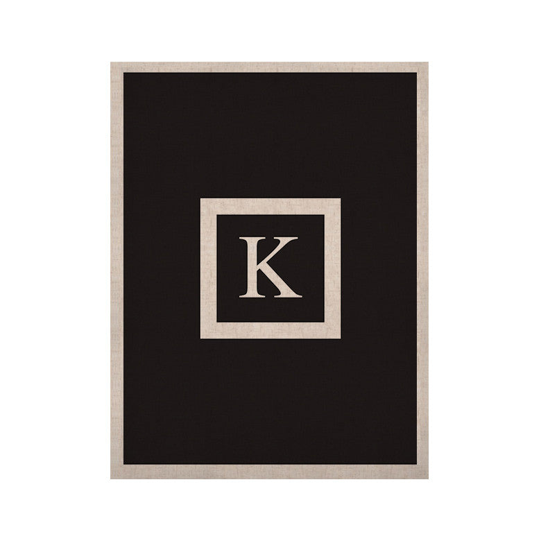"KESS Original ""Monogram Solid Black"" KESS Naturals Canvas (Frame not Included) - KESS InHouse  - 1"