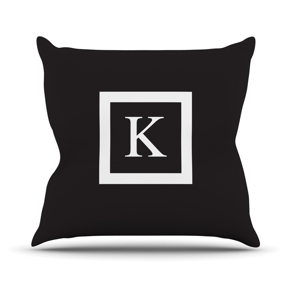 "KESS Original ""Monogram Solid Black"" Outdoor Throw Pillow - KESS InHouse  - 1"