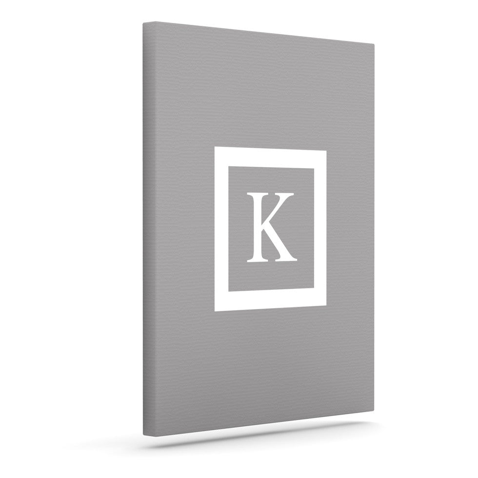 "KESS Original ""Monogram Solid Grey"" Canvas Art"