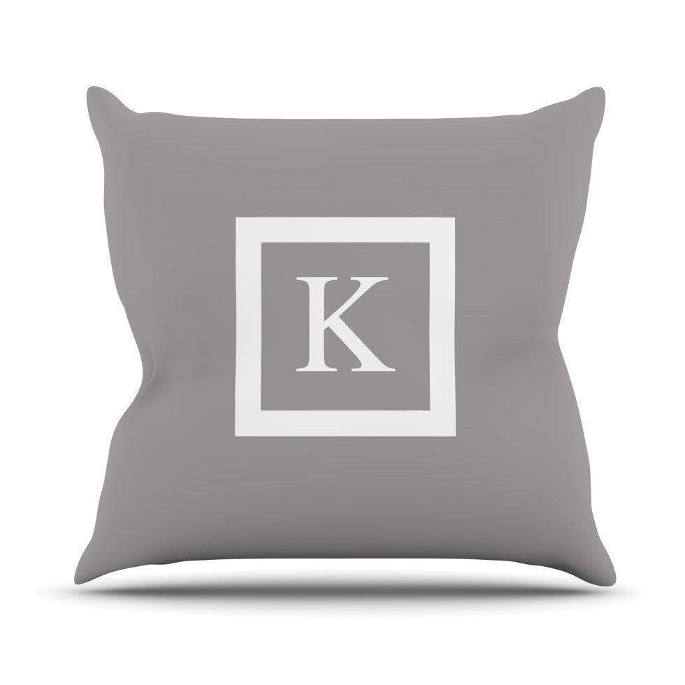 "KESS Original ""Monogram Solid Grey"" Throw Pillow - KESS InHouse  - 1"