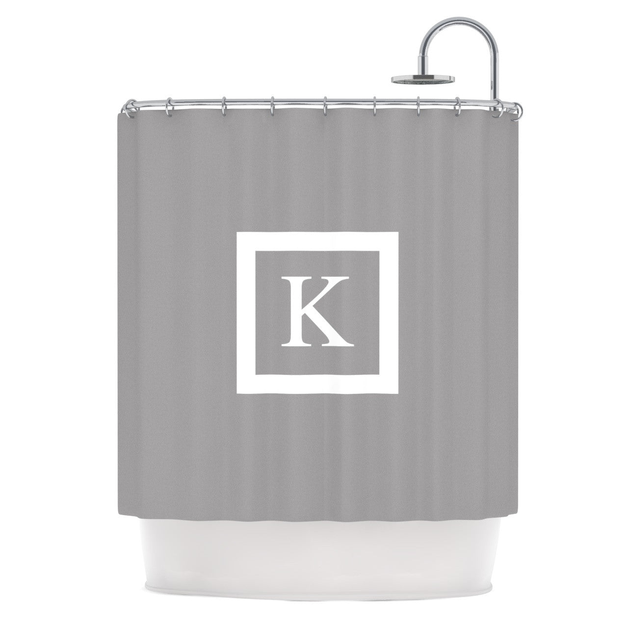 Black and white monogrammed shower curtain - Kess Original Monogram Solid Grey Shower Curtain Kess Inhouse Gray Shower Curtain