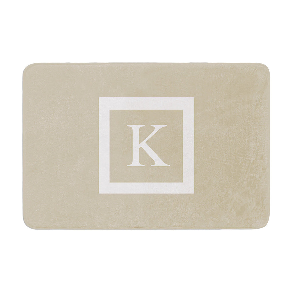 "KESS Original ""Monogram Solid Tan"" Memory Foam Bath Mat - KESS InHouse"