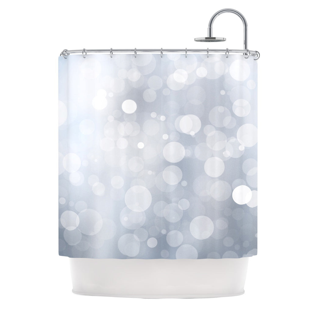 "KESS Original ""Glass"" Gray Bokeh Shower Curtain - KESS InHouse"