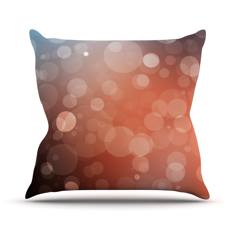 "KESS Original ""Sunset"" Orange Bokeh Outdoor Throw Pillow - KESS InHouse  - 1"