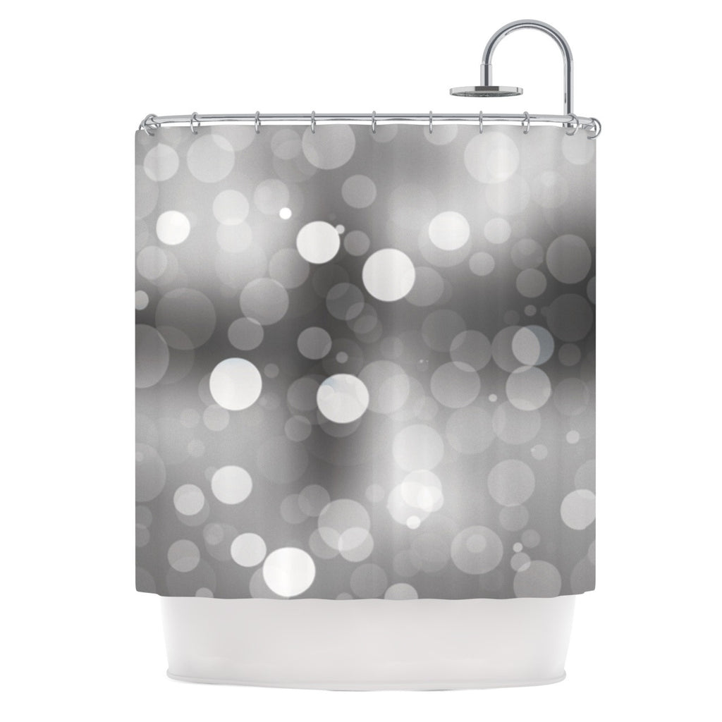 "KESS Original ""Spectral"" Gray Bokeh Shower Curtain - KESS InHouse"