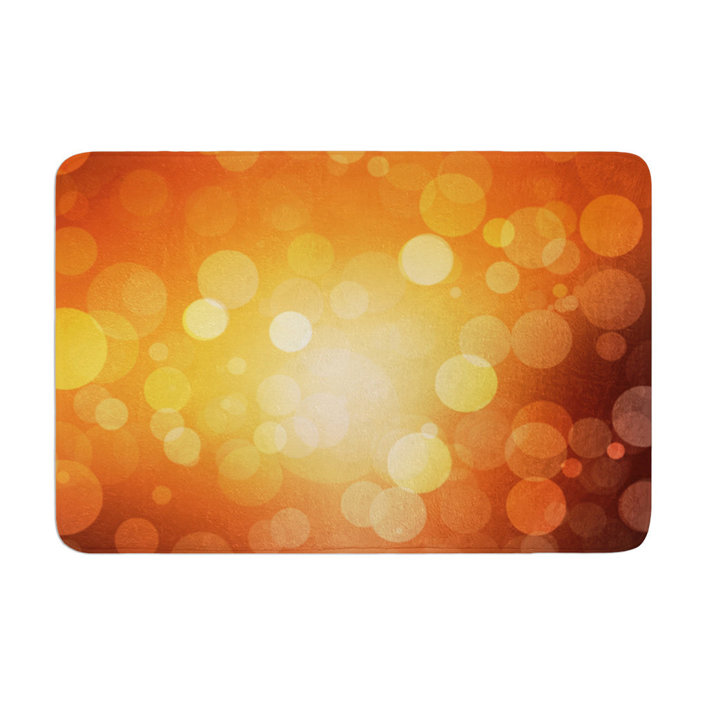 "KESS Original ""Sunrise"" Orange Bokeh Memory Foam Bath Mat - KESS InHouse"