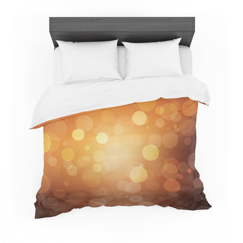 "KESS Original ""Sunrise"" Orange Bokeh Cotton Duvet"