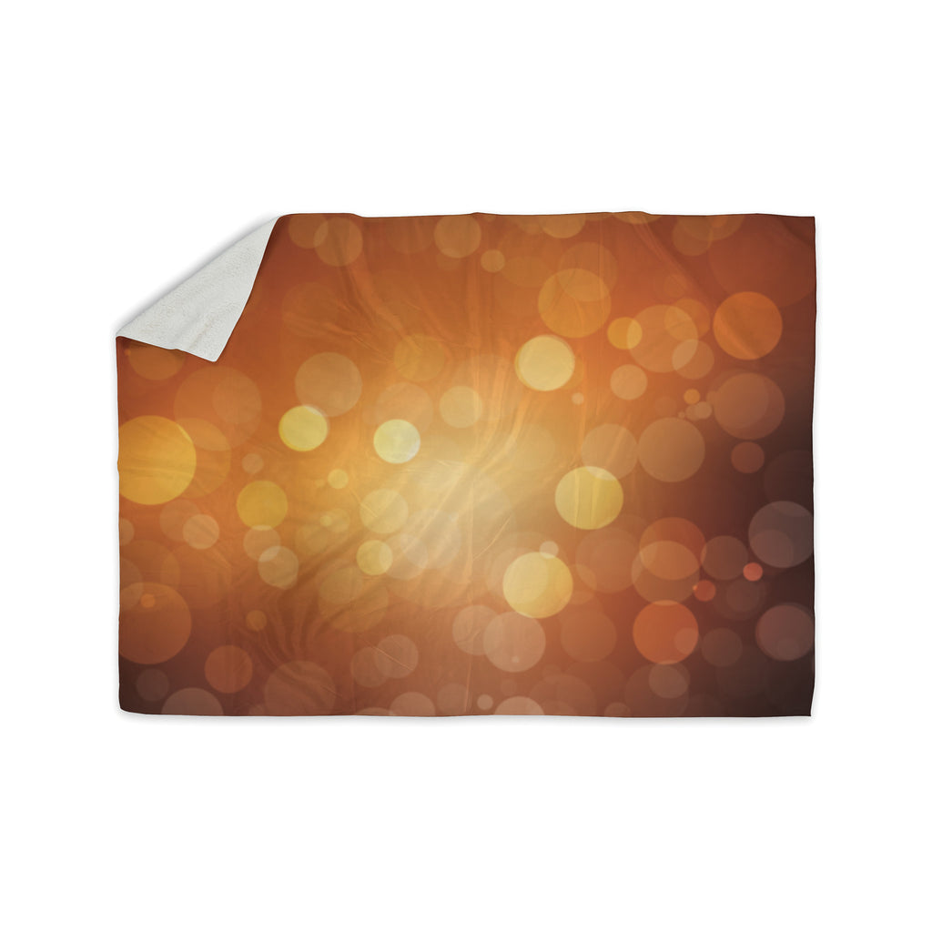 "KESS Original ""Sunrise"" Orange Bokeh Sherpa Blanket - KESS InHouse  - 1"