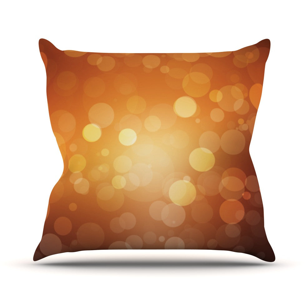 "KESS Original ""Sunrise"" Orange Bokeh Throw Pillow - KESS InHouse  - 1"