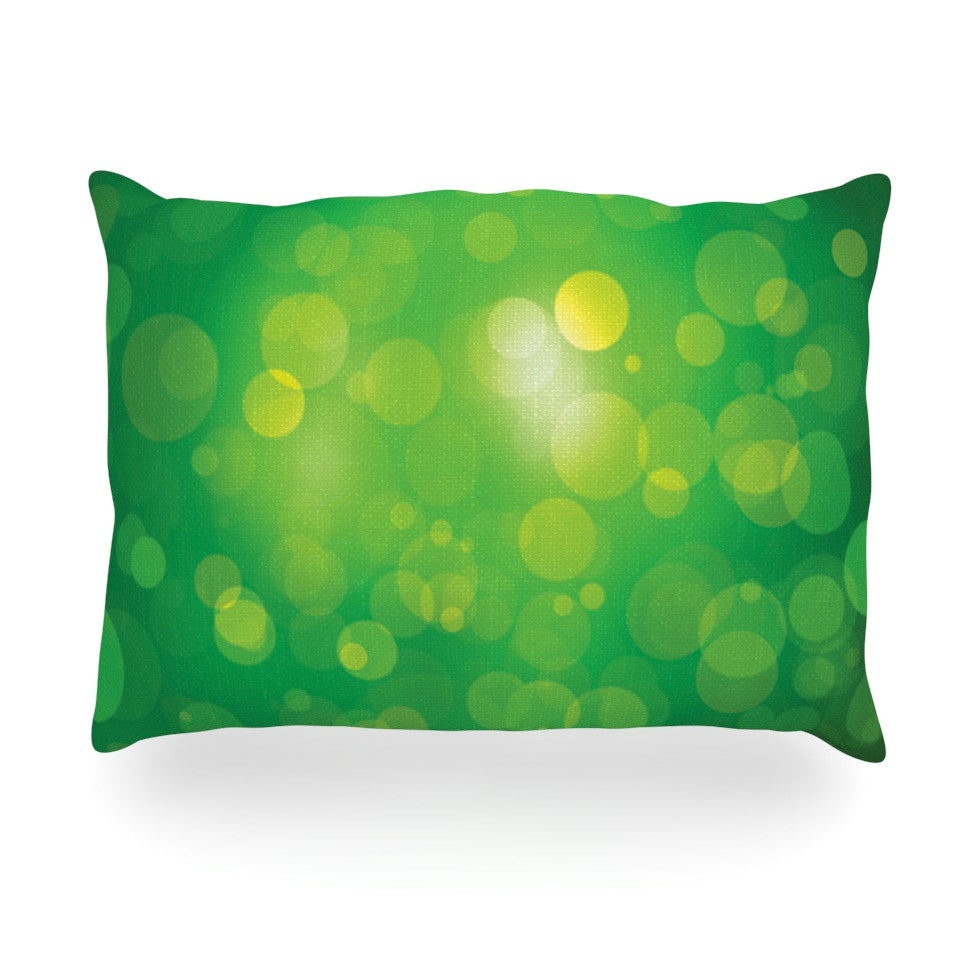 "KESS Original ""Radioactive"" Green Bokeh Oblong Pillow - KESS InHouse"