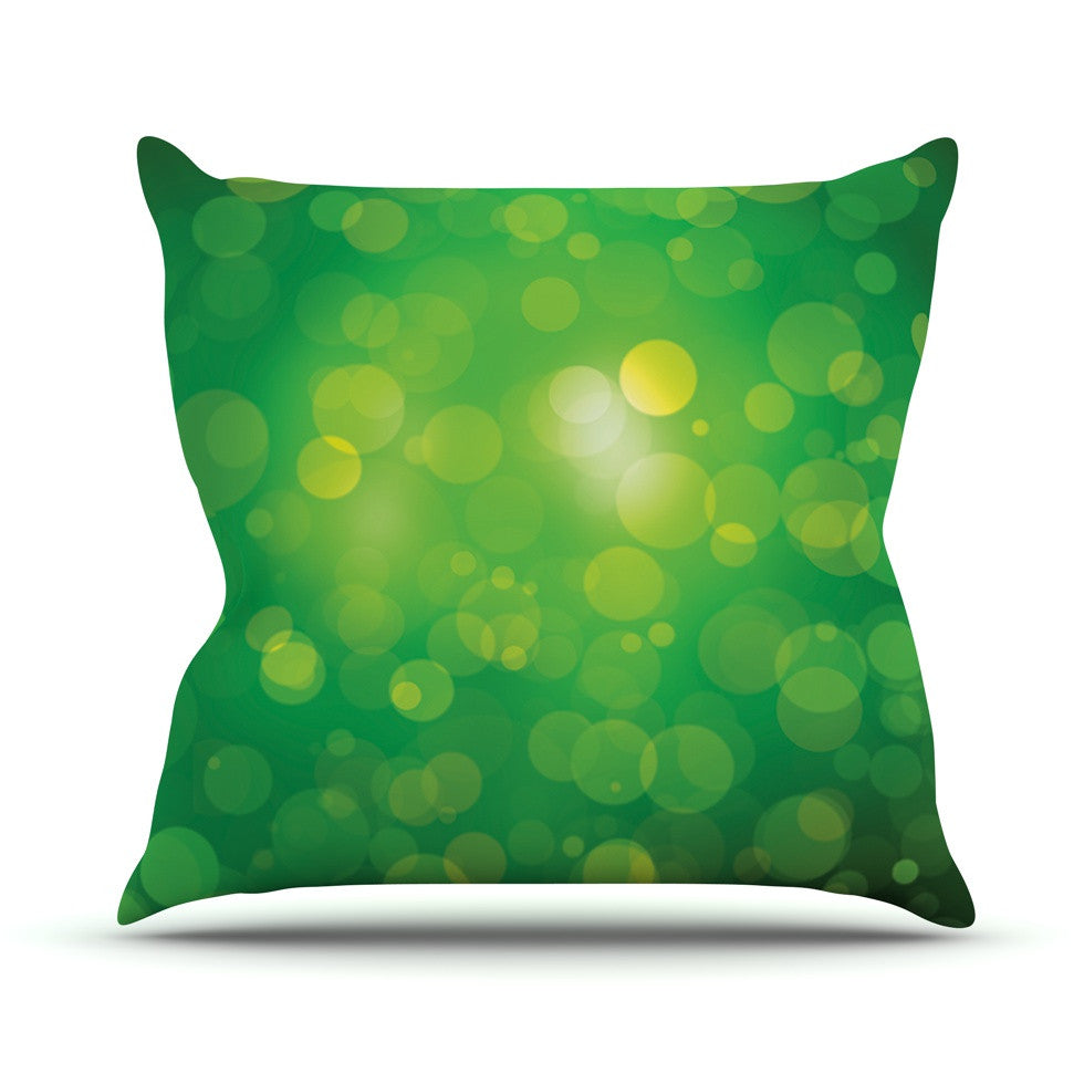 "KESS Original ""Radioactive"" Green Bokeh Outdoor Throw Pillow - KESS InHouse  - 1"