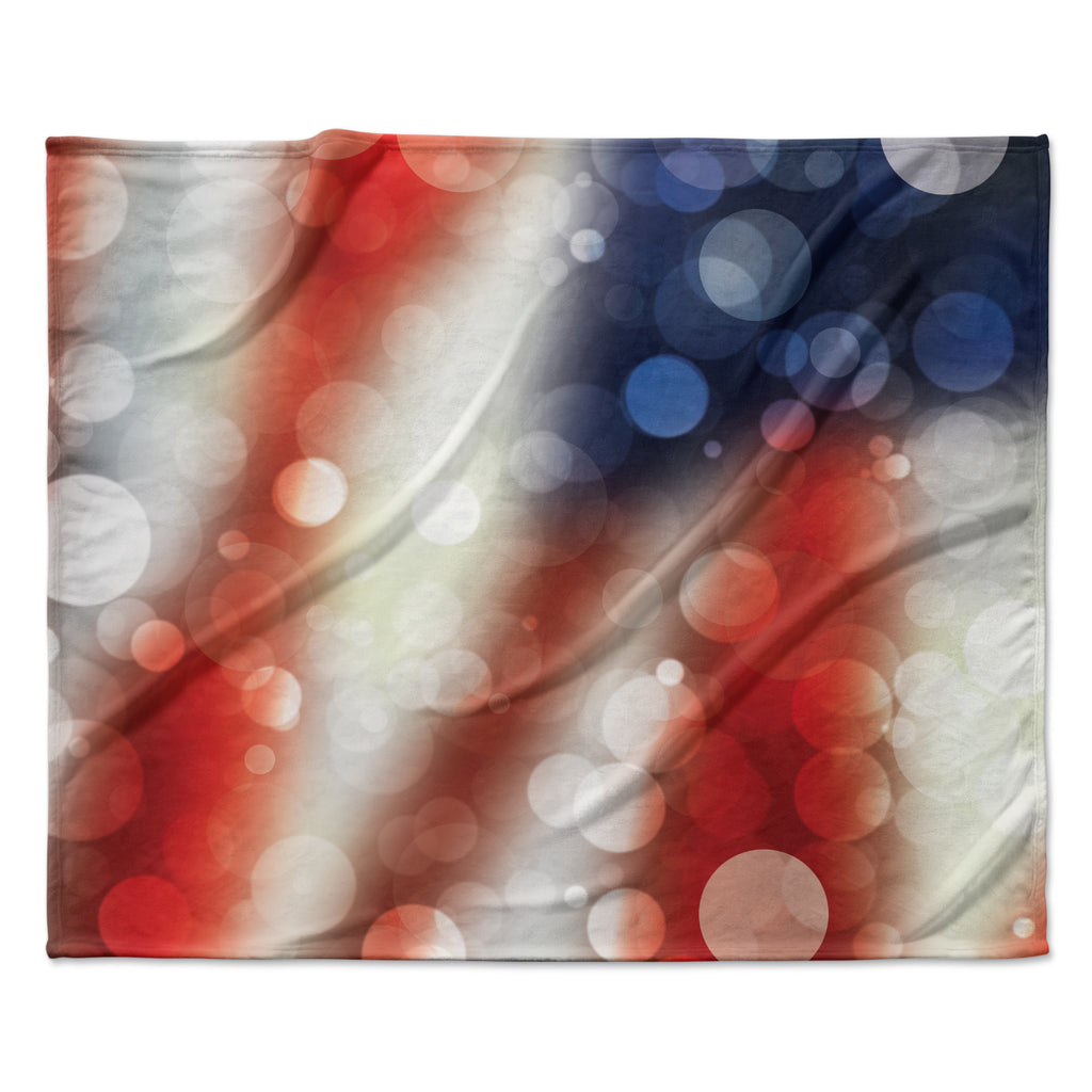 "KESS Original ""Patriot"" America Bokeh Fleece Throw Blanket"