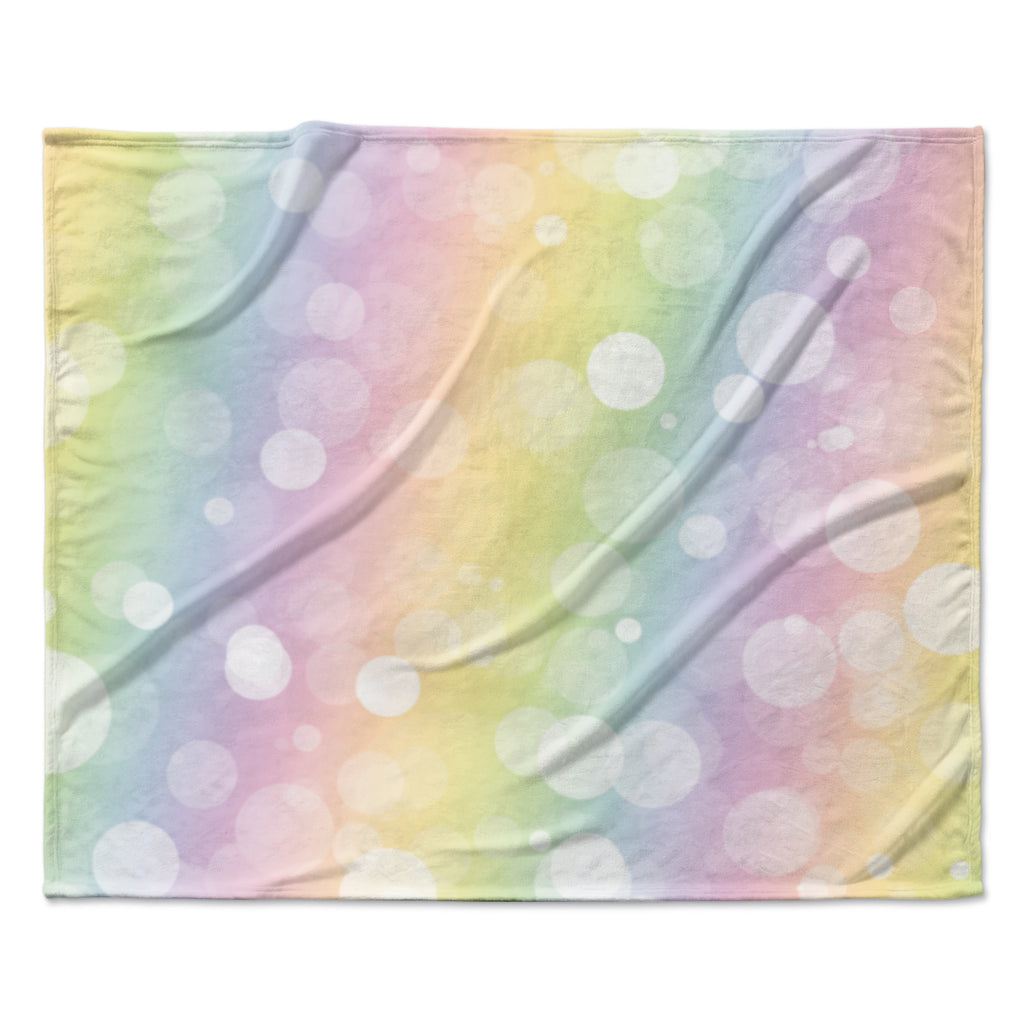 "KESS Original ""Pastel Prism"" Rainbow Bokeh Fleece Throw Blanket"