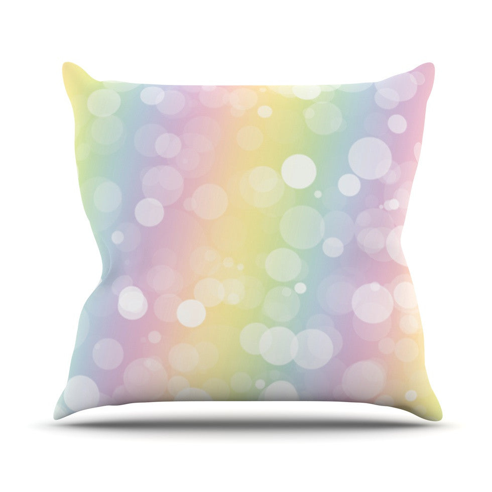 "KESS Original ""Pastel Prism"" Rainbow Bokeh Throw Pillow - KESS InHouse  - 1"