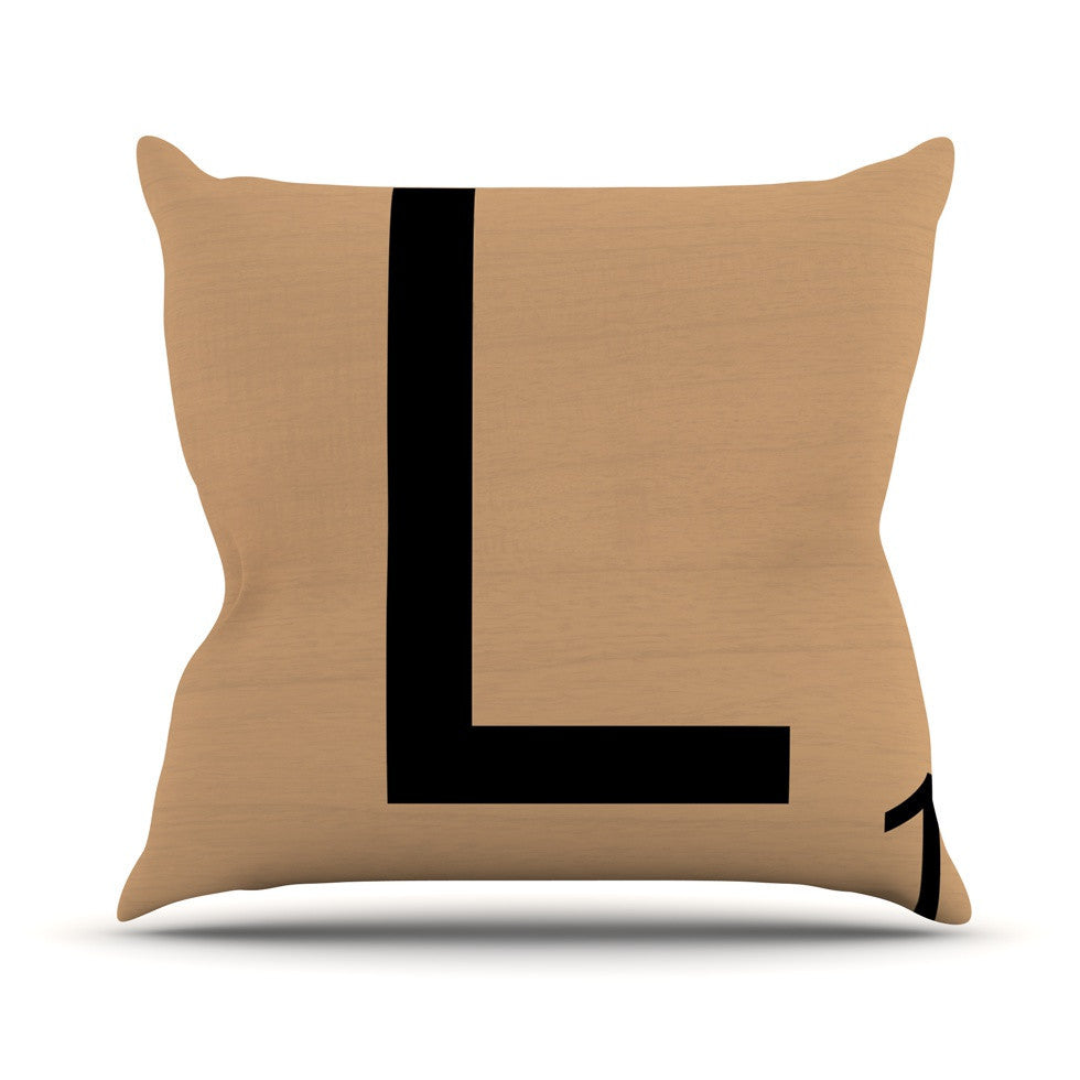 "KESS Original ""L"" Letters Outdoor Throw Pillow - KESS InHouse  - 1"
