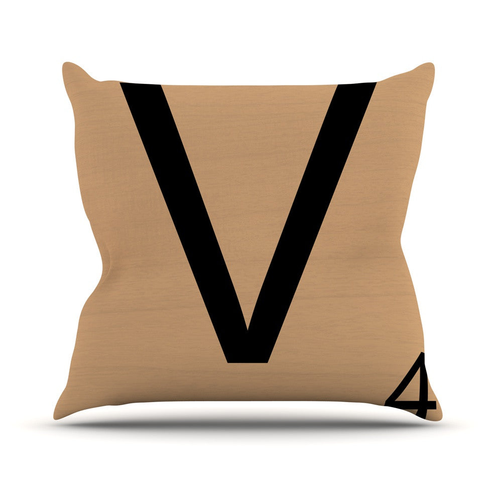 "KESS Original ""V"" Letters Outdoor Throw Pillow - KESS InHouse  - 1"