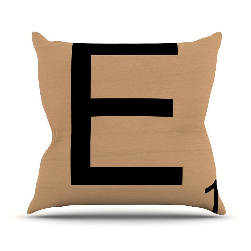 "KESS Original ""E"" Letters Outdoor Throw Pillow - KESS InHouse  - 1"