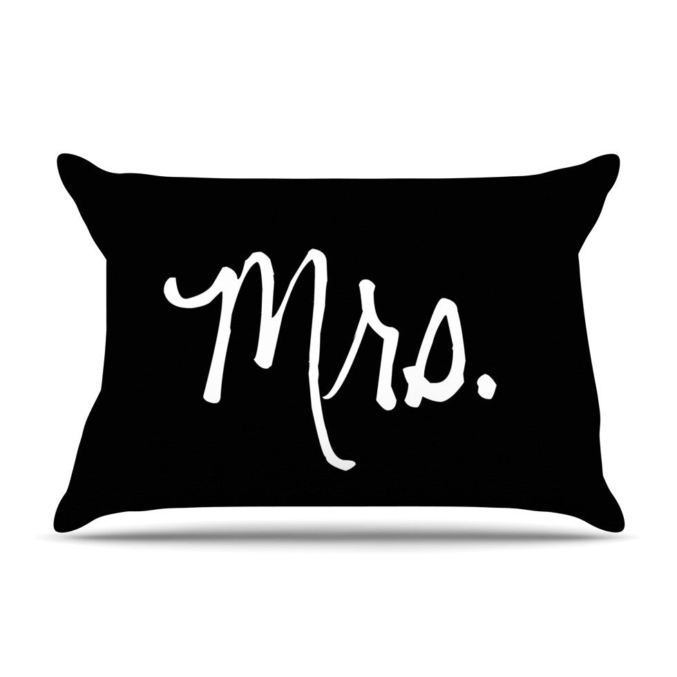 "KESS Original ""Mrs. - Black"" Couples Pillow Sham - KESS InHouse"