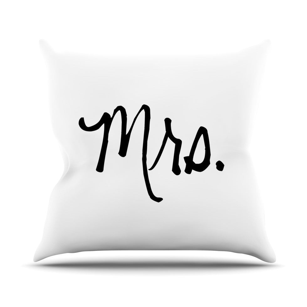 "KESS Original ""Mrs. - White"" Couples Outdoor Throw Pillow - KESS InHouse  - 1"
