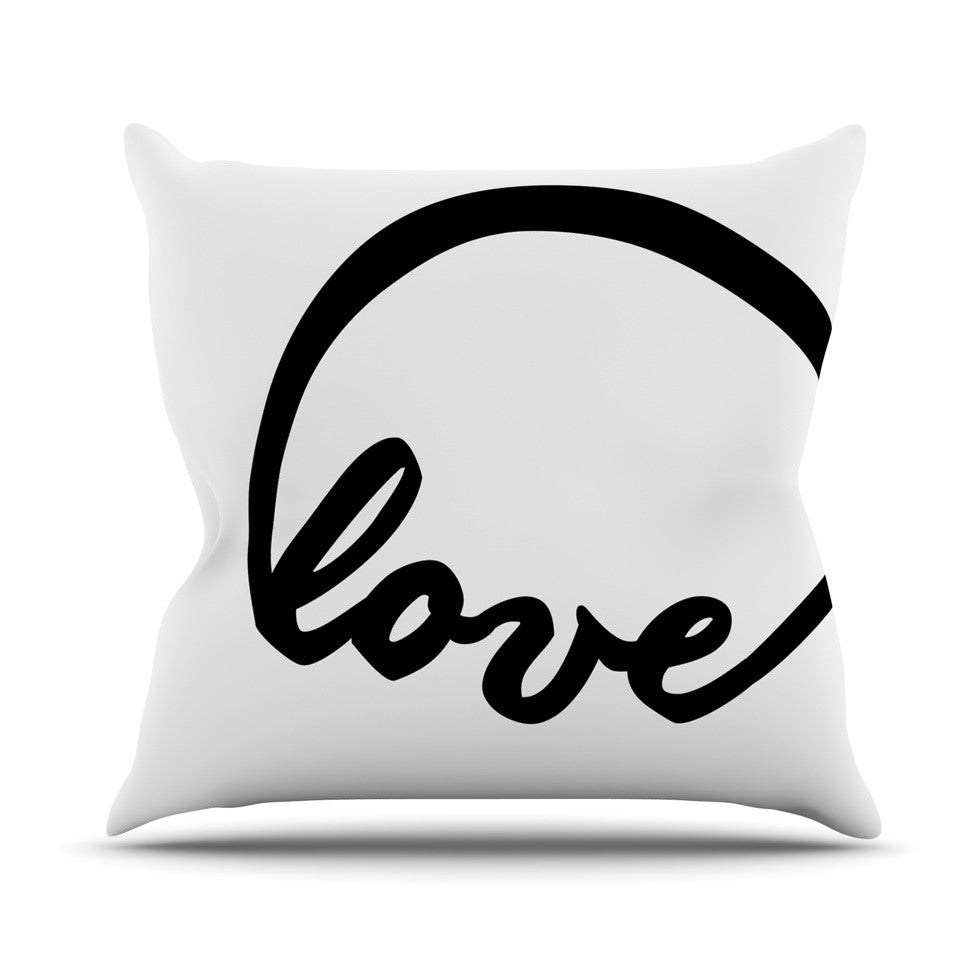 "KESS Original ""Love I"" Couples Outdoor Throw Pillow - KESS InHouse  - 1"