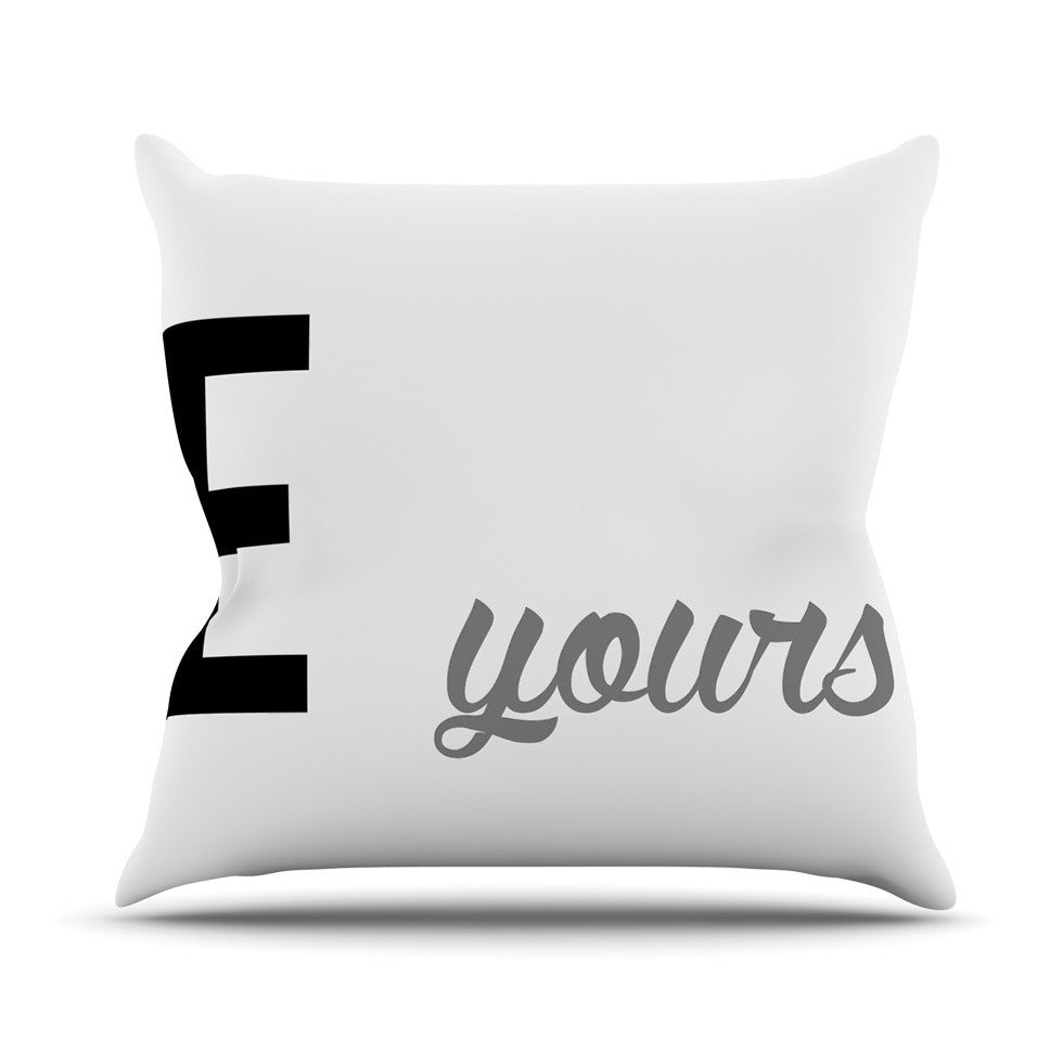 "KESS Original ""Mine II - Grey"" Couples Outdoor Throw Pillow - KESS InHouse  - 1"