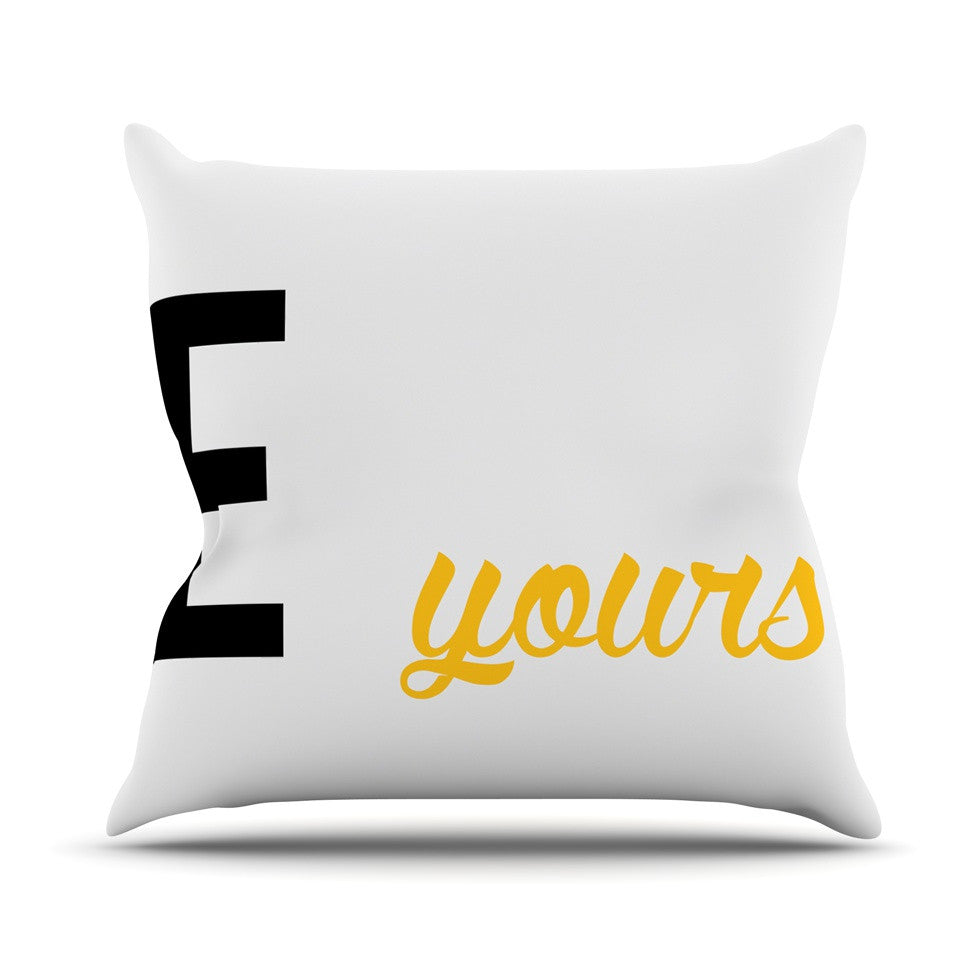"KESS Original ""Mine II - Yellow"" Couples Outdoor Throw Pillow - KESS InHouse  - 1"