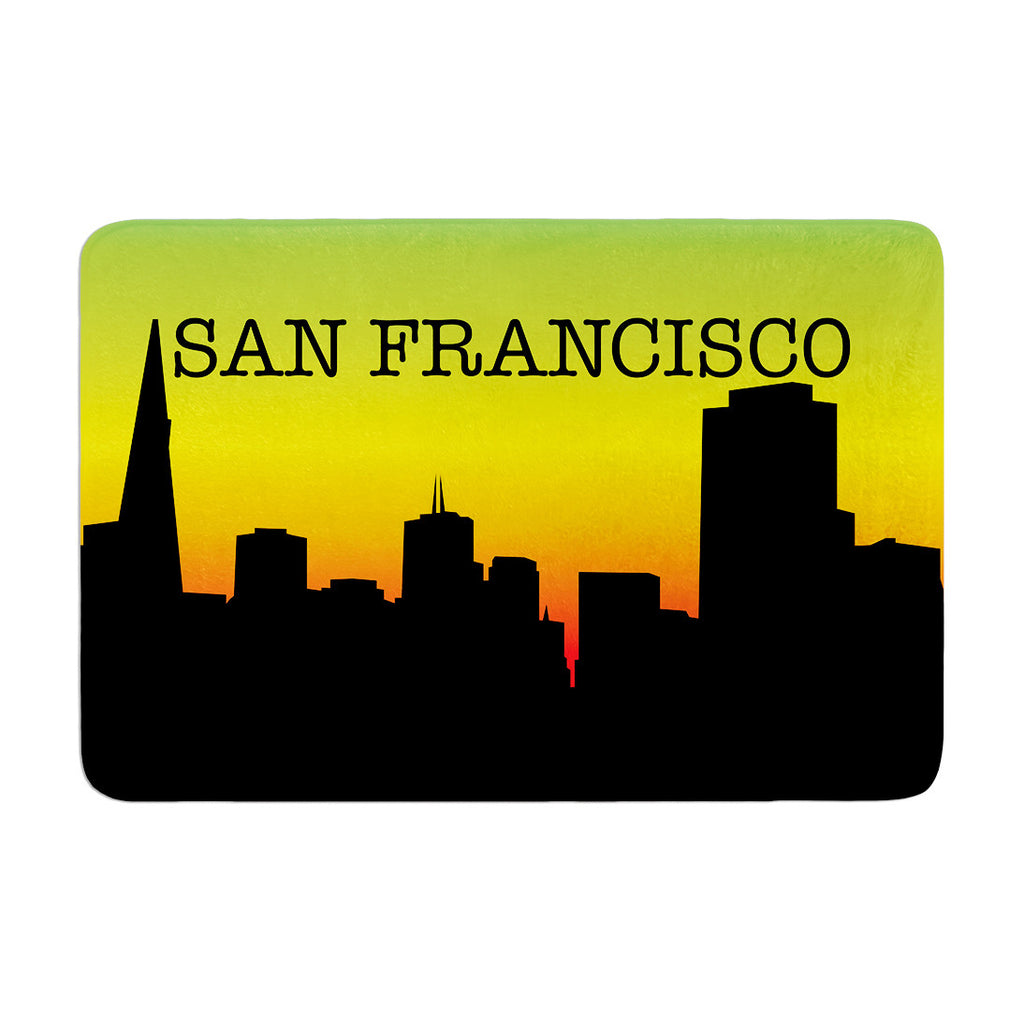 "KESS Original ""San Francisco"" Rainbow Black Memory Foam Bath Mat - KESS InHouse"