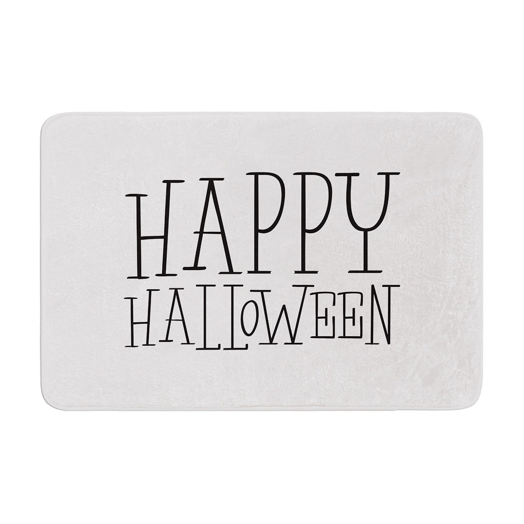 "KESS Original ""Happy Halloween - White"" Memory Foam Bath Mat - KESS InHouse"