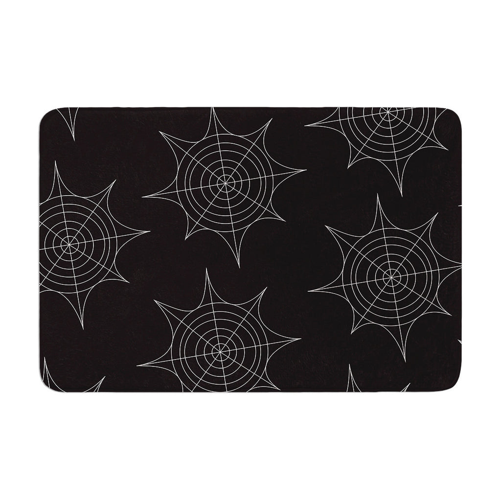 "KESS Original ""Spiderwebs - Black"" Memory Foam Bath Mat - KESS InHouse"