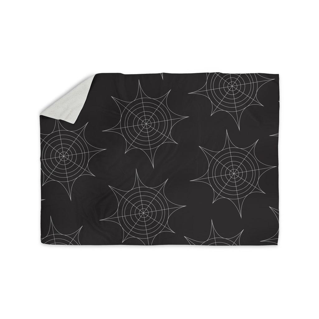 "KESS Original ""Spiderwebs - Black"" Sherpa Blanket - KESS InHouse  - 1"