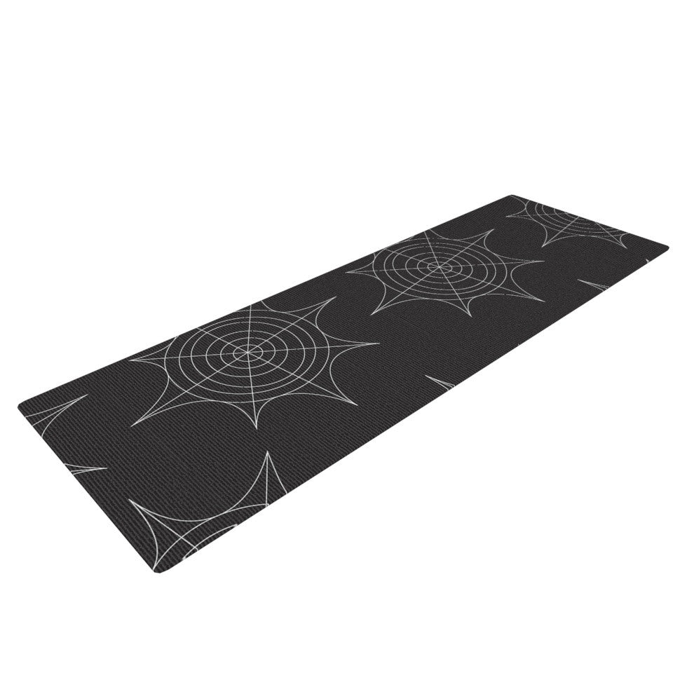 "KESS Original ""Spiderwebs - Black"" Yoga Mat - KESS InHouse  - 1"