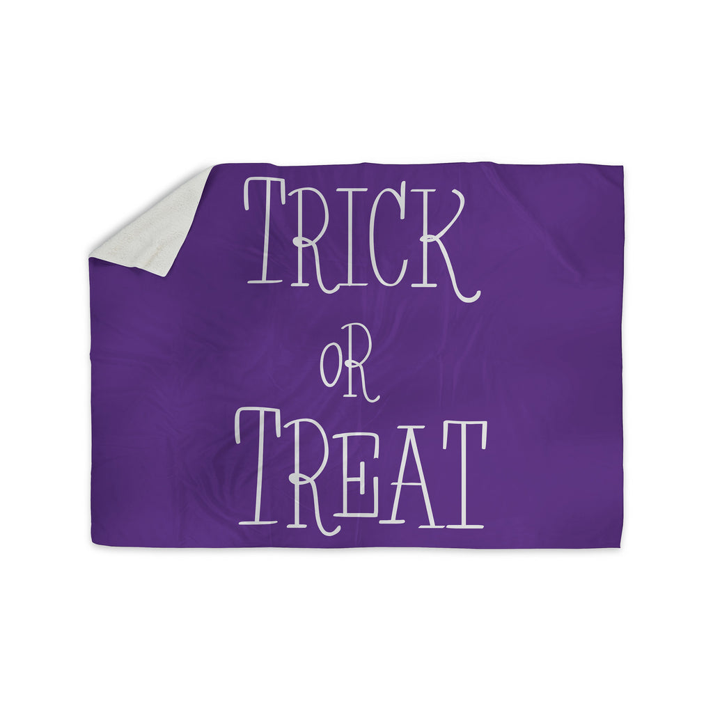 "KESS Original ""Trick or Treat - Purple"" Sherpa Blanket - KESS InHouse  - 1"