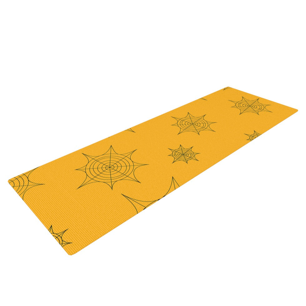 "KESS Original ""Mini Webs Orange"" Yoga Mat - KESS InHouse  - 1"