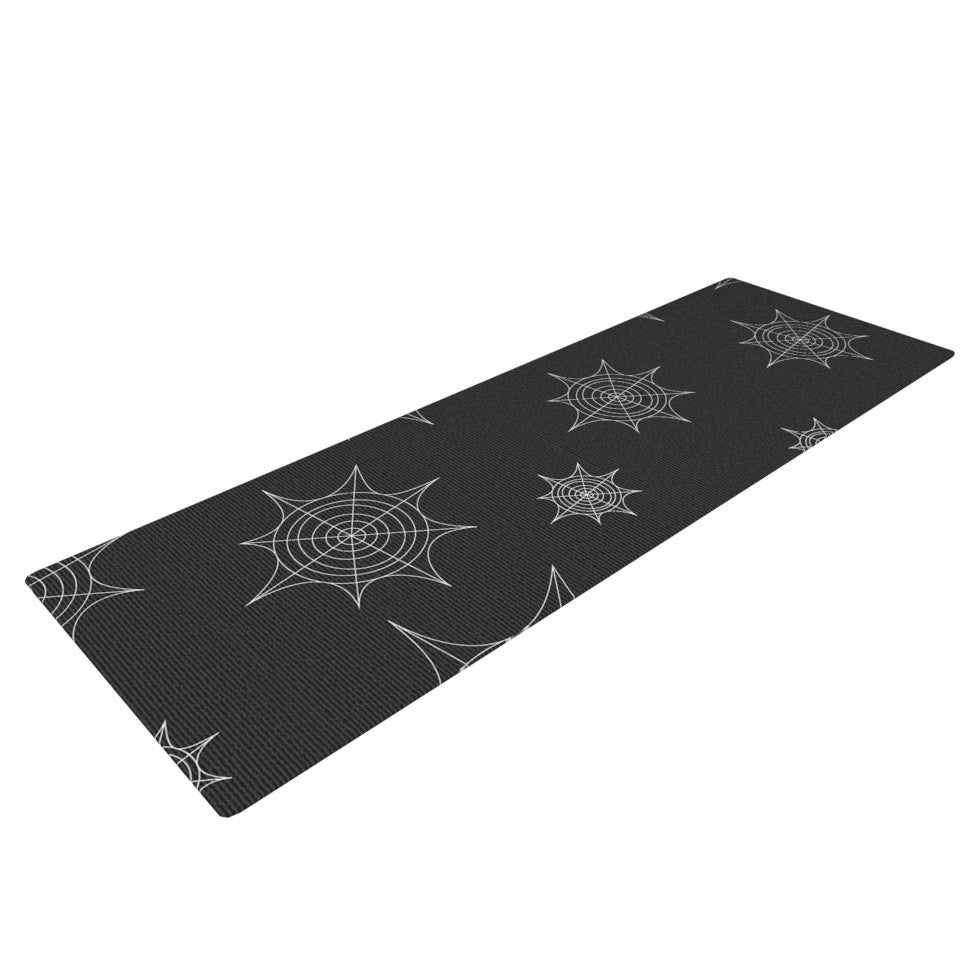 "KESS Original ""Mini Webs Black"" Yoga Mat - KESS InHouse  - 1"