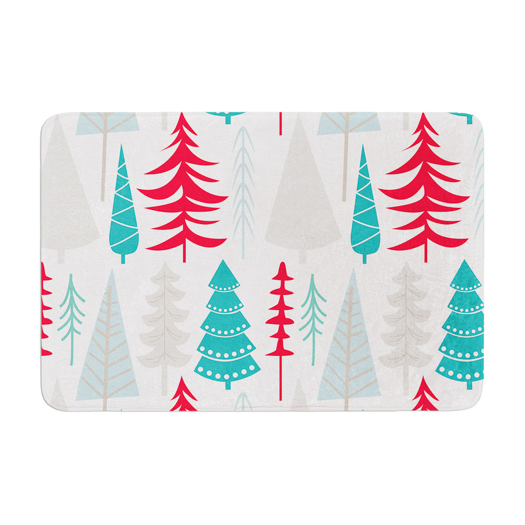 "KESS Original ""Happy Forest Red"" Blue Memory Foam Bath Mat - KESS InHouse"